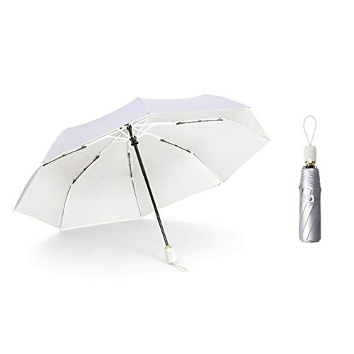 WWHSS 8-Rib Pocket Miniskirt Umbrella Anti-Ultraviolet Sun Umbrella Rain and Windproof Portable Fold Umbrella. Anti-UV Umbrella (Color : 8K Automatic White)