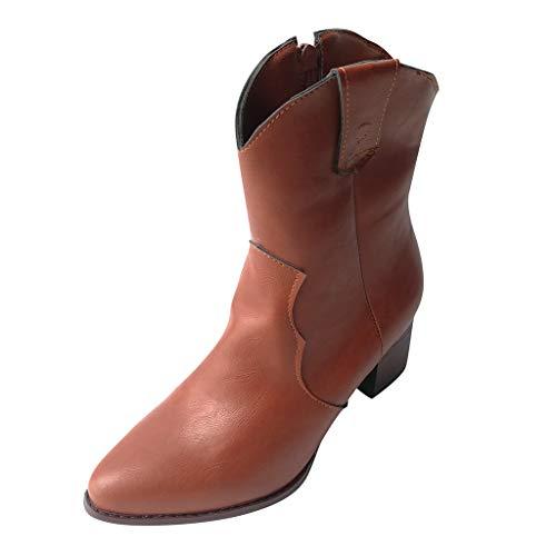 Botas Mujer Invierno 2019 Vintage con Cremallera Lateral y Botines Casuales Zapatos de tacón Alto Botas De Nieve Planas Verde marrón Beige 35-43