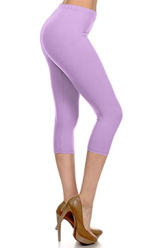NCPR128-LILAC Capri Solid Leggings, One Size