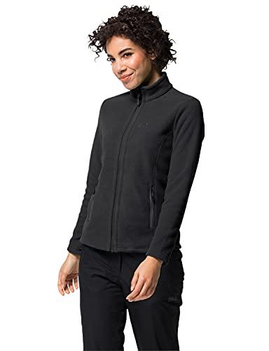 Jack Wolfskin W Moonrise JKT, Damen Jacke aus robustem & recyceltem Fleece, Outdoor Jacke für Damen mit kurzem Systemreißverschluss, kombinierbare Fleecejacke für Damen, schwarz, M