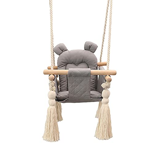 LQWE Wooden Swing Canvas Seat Set with Cushions, Handmade Kids Indoor Outdoor Hanging Chair Hammock, Comfortable Toddler Seat Nursery Decor