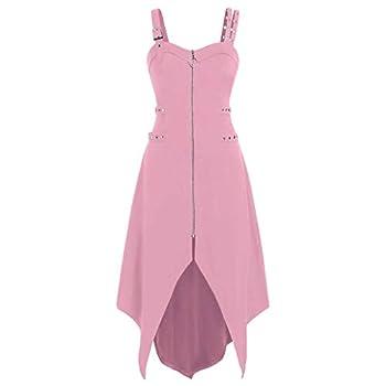TWGONE Goth Dress for Women Plus Size Cool Solid Zipper Irregular Hem Sleeveless Camisole Mini Dresses Medium,Pink