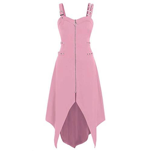 Buy LATINDAY ◆ Women's Gothic Adjustable Spaghetti Strap Zipper Irregular Hem Cami Mini Dress Pink