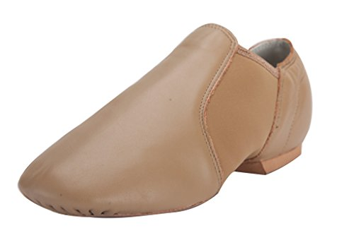 Linodes (Tent Leather Upper Jazz Shoe Slip-on for Women and Men's Dance Shoes Brown 11M