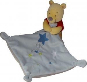 Doudou Disney Kiabi Winnie amarillo pañuelo azul estrella