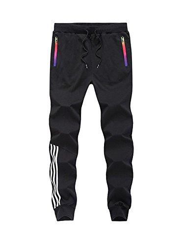 MANLUODANNI Homme Pantalons Casual Slim Fit Pantalons de Sport Jogging Long Pants de Survêtement en Polyeste et Coton Noir L