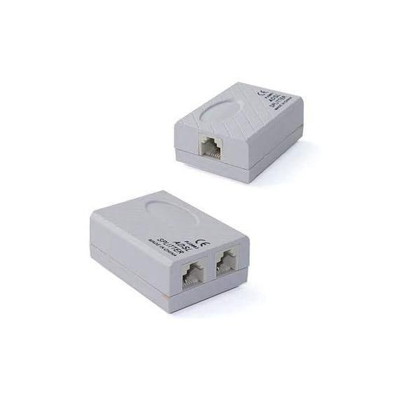 Mak World ADSL Splitter for Landline Telephone and Modem -1 Female Jack to 2 Female Jack Adaptor- (Pack of 1 Pcs)