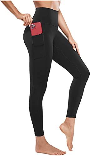 CHUMIAN Leggings Donna Fitness Pantaloni da Yoga Vita Alta Tasca Tasche Elastici Allenamento Palestra (Nero, M)