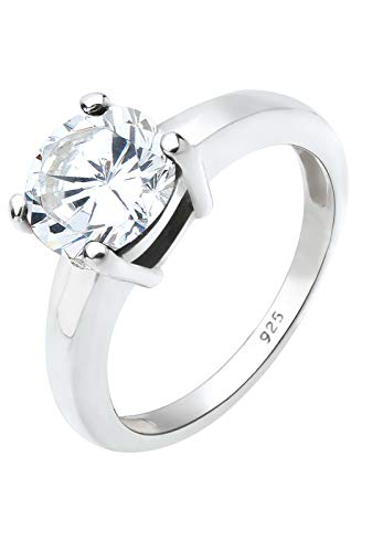 Elli Schmuck Ring Solitär Damen aus 925 Sterling Silber mit Zirkonia Stein in Krappenfassung Ringgröße 54