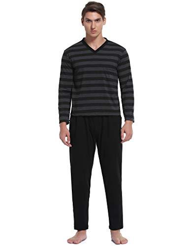 Pyqian Pijamas Hombre Invierno Algodon,Conjunto de Pijamas Hombre Largo Algodon Manga Pantalones Set,Suave,Comodo y Agradable