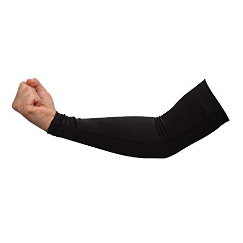 DUOER 1pc di Basket in Esecuzione dei Manicotti del Braccio di Protezione Solare UV Uomini Pallavolo Gomitiera Fitness Armguards Sport Ciclismo scaldini del Braccio (Colore : Black, Size : Size S)