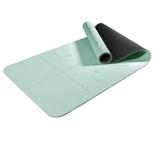 BAWAQAF Esterilla de yoga, doble capa de TPE de dos colores, alfombrilla antideslizante para gimnasio con línea de posicionamiento, tapete Yogi para principiantes