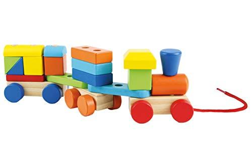 LENA 32169 Train de Rebond en Bois avec Train de repousser Le Train à l'arrière 26 pièces, Train en Bois pour Enfants à partir de 12 + Mois, Train en Fer pour Train de repousser, Coq coloré