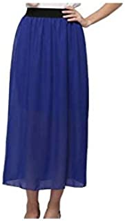 Blue Chiffon Straight Skirt For Women
