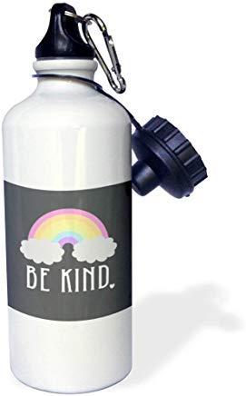 Janna Salak Designs Text Art Be Kind - Botella de agua de aluminio, diseño de arcoíris con texto en inglés 'Be Kind', color blanco, para senderismo, gimnasio, escuela, camping, para hombres, mujeres, niños