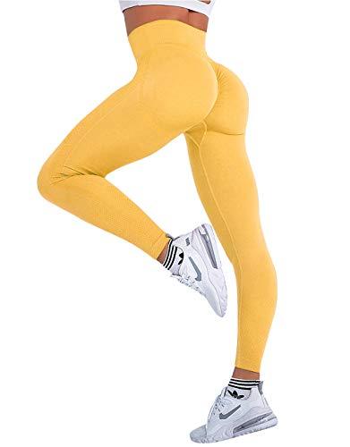 MANIFIQUE Workout Leggings Damen Push Up Leggings Scrunch Butt Sporthose Blickdicht Lift Fitnessleggings mit Hohe Taille kompressionsleggings für Yoga Jogging Sport Freizeit Gelb