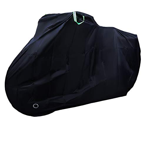 Rockoo | Bike Cover for Outdoor Storage | Heavy Duty 190T Nylon Rain UV Protection Dustproof with Lock Holes and Storage Bag | Perfect for Mountain, Road Bikes/Bicycle – Black