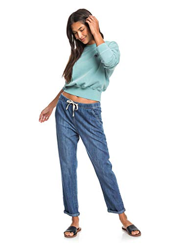 Roxy Slow Swell - Vaquero Elástico De Corte Relajado para Mujer Vaquero Elástico De Corte Relajado, Mujer, Medium Blue, L