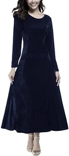 Snow Lotus Vestido de fiesta de terciopelo de manga larga para mujer una línea larga madre de la novia, azul marino, 48
