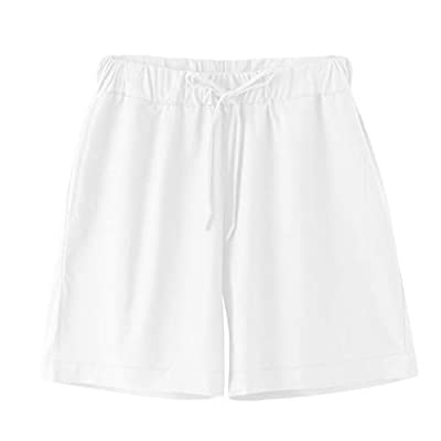 XQXCL Mens Shorts Summer Beach Short Pant Fashion Casual Cotton Pants Solid Color Casual Household Half Pants White