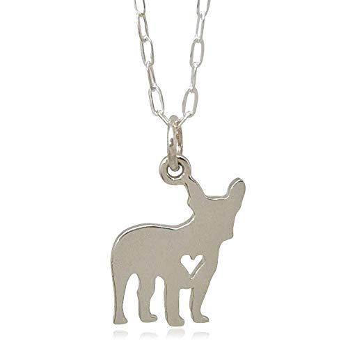 Sterling Silver Love My French Bulldog with Heart Cutout Flat Charm Necklace 18'