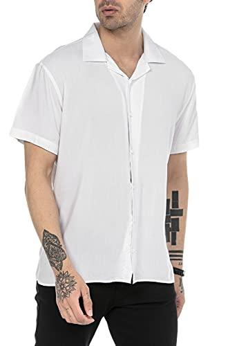 Camisa Casual para Hombre de Manga Corta Tejido Ligero Blanco XL
