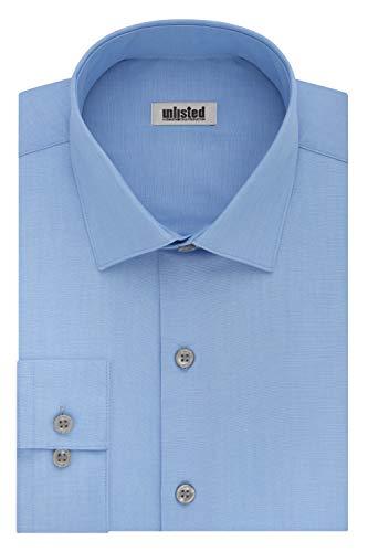 Kenneth Cole – Camisa de Vestir para Hombre, Azul Claro, 16″-16.5″ Cuello 32″-33″ Manga (L)