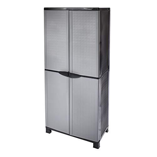 House Collection HSC1704 - Escobillero, armario alto, multiespacio, de interior y exterior, de resina, 66 x 37 x 250 cm, gris