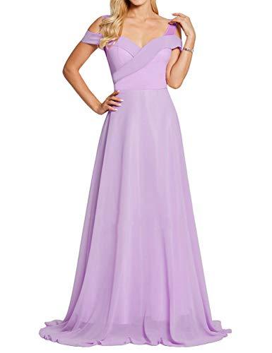 Long Evening Dress Off The Shoulder Bridesmaid Dresses Wedding Party Gowns Lavender US2