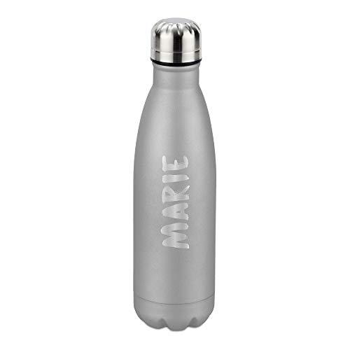 deinzigartig #Lieblingsflasche Active – Identity Design - Vakuum Flasche mit deinem Namen - kostenlose Personalisierung - für Heiß- und Kaltgetränke (Silber)