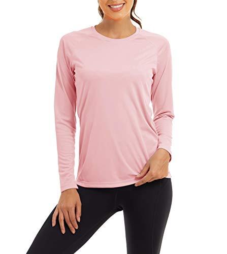 KEFITEVD Damen UV Schutz Shirt Longsleeve Sonnenschutz Radshirt Schnelltrocknend Sportshirt Jogging Laufen Langarmshirt Herbst Lässig T-Shirt Pink S