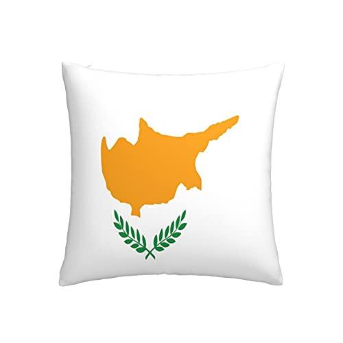 Kissenbezug, Motiv: Flagge von Zypern, quadratisch, dekorativer Kissenbezug für Sofa, Couch, Zuhause, Schlafzimmer, für drinnen & draußen, 45,7 x 45,7 cm