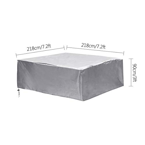 Silver Square Hot Tub Cover Spa Covers Furniture Table Cover for Sun Protection Waterproof Heat Electrical Insulation (85.8x85.8x35.4 Inch)