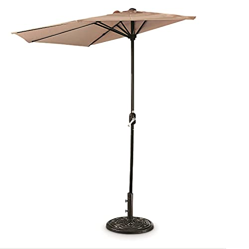 CASTLECREEK 8 Foot Polyester Half Round Outdoor Patio Sun Shade Umbrella with Easy Open Close Hand Crank (Base Sold Separately), Khaki