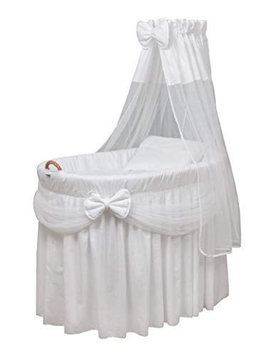 WALDIN Baby Wicker Cradle, Moses Basket, 4 Models Available,Textile Colour White
