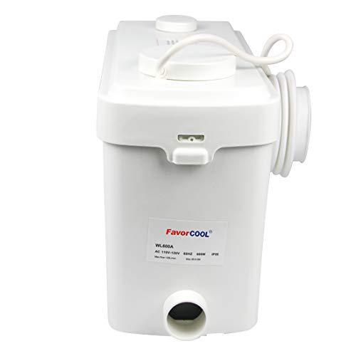 FAVORCOOL 600W Macerator Sewerage Grinder Sewage Pump Elevation up to 30ft Stainless Steel Shell Maintenance Free Full Bathroom Anywhere Basement Toilet Shower Waste Water Marine Sink RV Home Disposal
