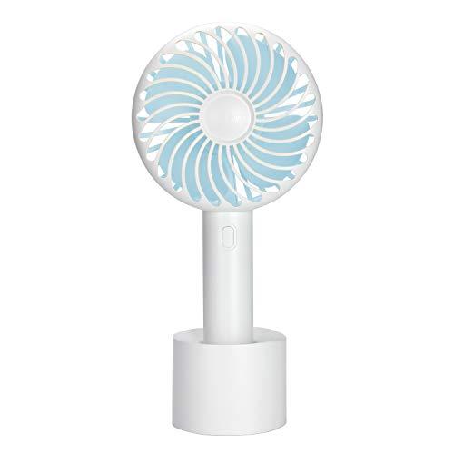 ODLICNO Mini Ventilador de Mano,Ventilador Portatil USB con Base y Recargable Batería de Litio,Mini Ventilador Ultra Silencioso Ventilador con 3 Velocidades para Hogar Oficina y Viaje Portátil Mini Fan-Azul