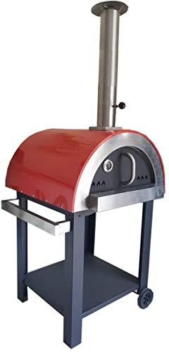 Megashopitalia Forno a Legna per Pizza 3 Pizze in Acciaio da Esterno Barbecue Giardino con Refrattario