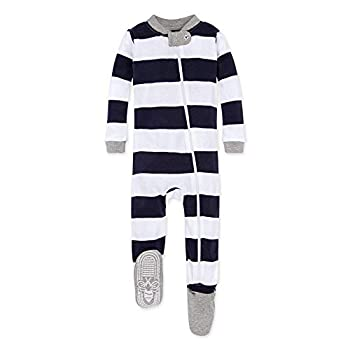 Burt s Bees Baby unisex baby Pajamas Zip-front Non-slip Footed Pjs Organic Cotton and Toddler Sleepers Midnight Rugby Stripe 24 Months US