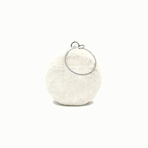 A-hyt Komfortables Design Neue tragbare Troll-Pelz-Tasche der Frauen niedlichen Ketten-Plüsch-Eve-Tasche Perfekte Mode (Color : White, Size : 16.5 * 6 * 16)