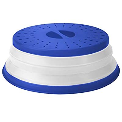 """Tovolo Vented Collapsible Microwave Splatter Proof Food Plate Cover With Easy Grip Handle Dishwasher-Safe, BPA-Free Silicone & Plastic, 10.5"""" Round, 10.5 inch, Stratus Blue"""