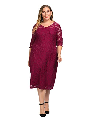Chicwe Women's Plus Size Stretch Guipure Lace Dress - Party Wedding Cocktail Dress Wine Red 1X (Apparel)