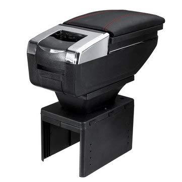 PeroFors 50 * 19 * 22 Cm Universal Apoyabrazos Coche Apoyabrazos Consola Central Giratoria PU Cuero Caja De Almacenamiento - Negro