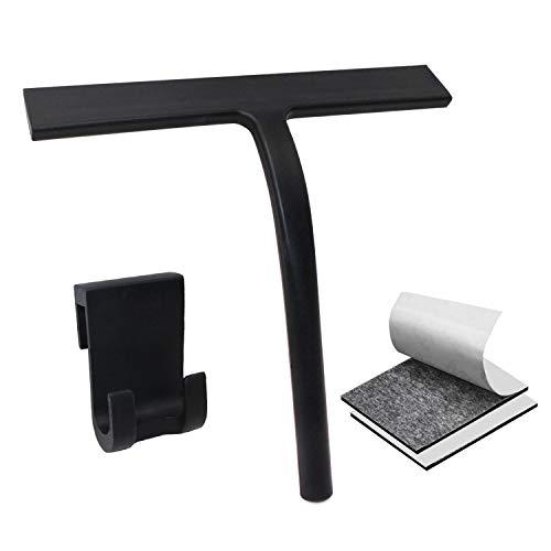 U&X Extractor de ducha Limpiador de ducha de silicona con colgador de pared y cinta de doble cara sin taladrar, limpiador de baño Extractor de ventanas para baño Espejo ventana Limpieza de vidrio