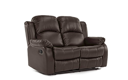 Divano Roma Furniture Classic Loveseat Bonded Leather-2 Seater Recliner Sofa (Brown)