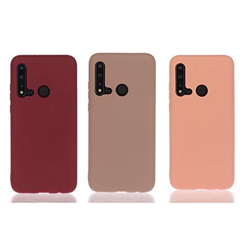 Everainy (3 Pack Kompatibel für Huawei P20 Lite 2019 Silikon Hülle Ultradünn Hüllen Gummi Handyhülle Stoßfest TPU Gel Stoßstange Case Cover (rot 1/braun/orange)