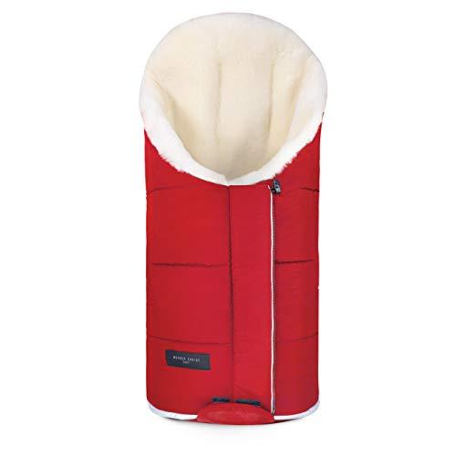 Lammfell Kinderwagen-Fußsack TULAVARIO von WERNER CHRIST BABY – Buggy Lammfellfußsack aus medizinischem Fell, als Krabbelmatte, Spieldecke verwendbar, in chili red (rot)