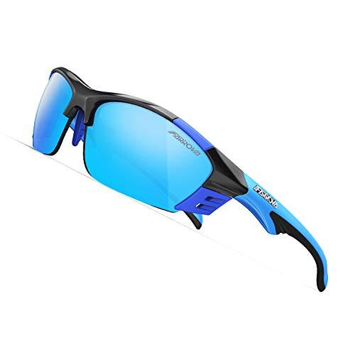 スポーツサングラス 偏光レンズ EMSフレーム おしゃれ 超軽量 快適 防風 防砂 紫外線防止 UVカット メンズ バイク お釣り アウトドア 運転 マラソン 専用交換レンズ3枚付き バンド付きメガネフレーム付きKD017 (ブライトブルー&ブルーレンズ)