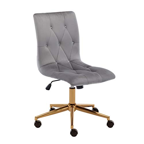 Duhome MidBack Home Office Chair,Duhome Armless Ergonomic Executive Office Computer Accent Chair (Grey Velvet)