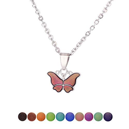 BOBEINI Mariposa Cambio de Color de Piedras Preciosas con Temperatura Collar Mariposa Magia emoción sentimiento Humor Colgante Collar joyería